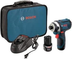 Bosch PS41-2A 12V Max Quarter-Inch Hex Impact Driver Kit with 2 Batteries, Charger and Case, Blue